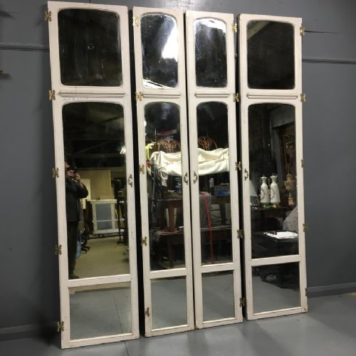 set of 4 large french painted and mirrored doors