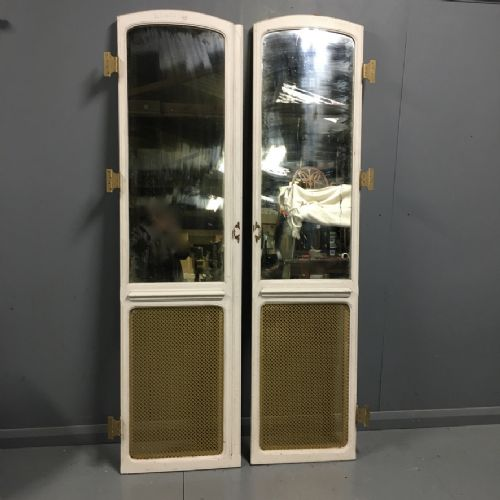 pair of french mirrored doors with brass grilles