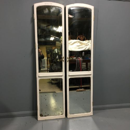 pair of french painted and mirrored doors