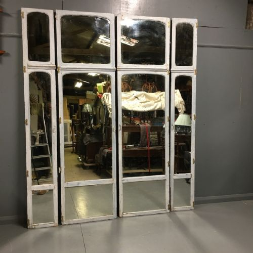 set of 4 french painted and mirrored doors