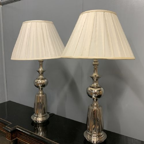 pair of large nickel plated lamps