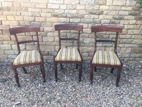set of 3 regency mahogany dining chairs