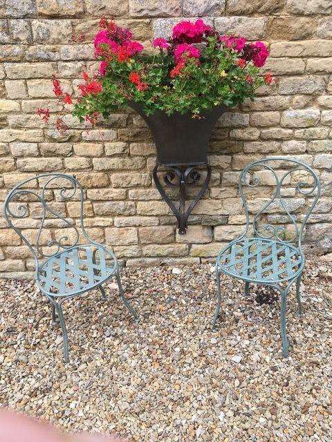 2 french lattice garden chairs