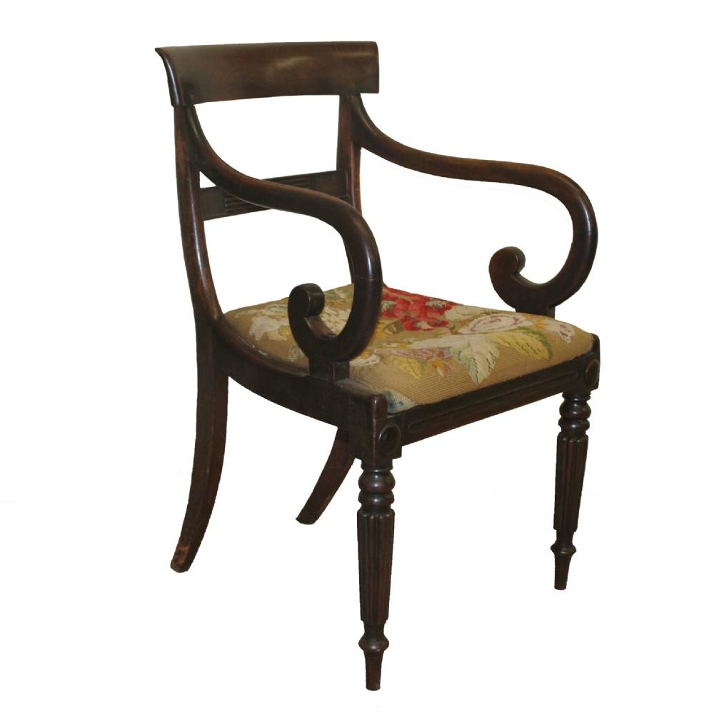 A Good Regency Scroll Arm Chair
