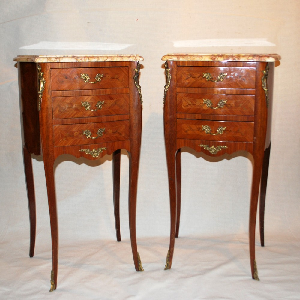 Pair Of French Marquetry Side Tables Bedside Cabinets