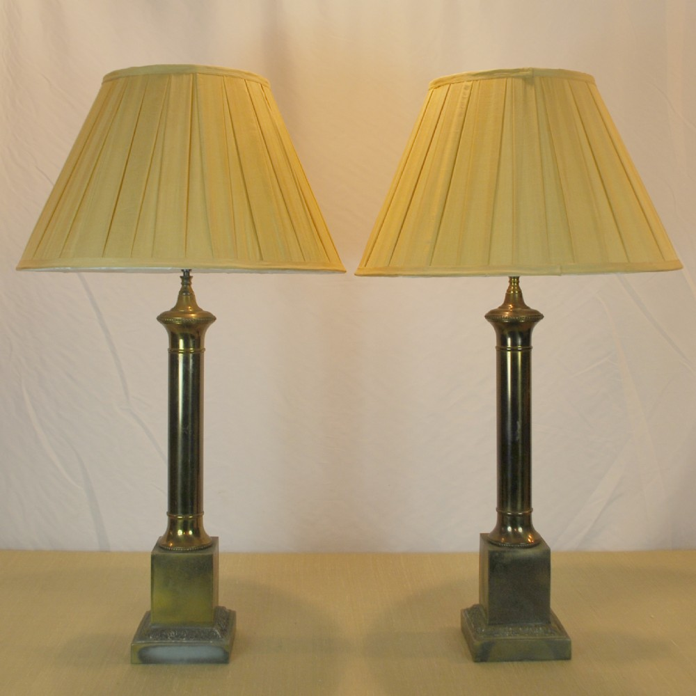 Pair of brass column table lamps 265568 sellingantiques pair of brass column table lamps mozeypictures Gallery