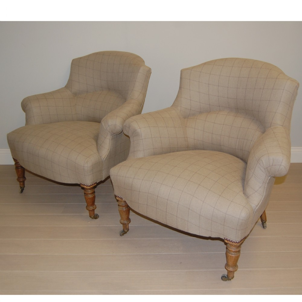 pair of french tub armchairs in french linen 277611