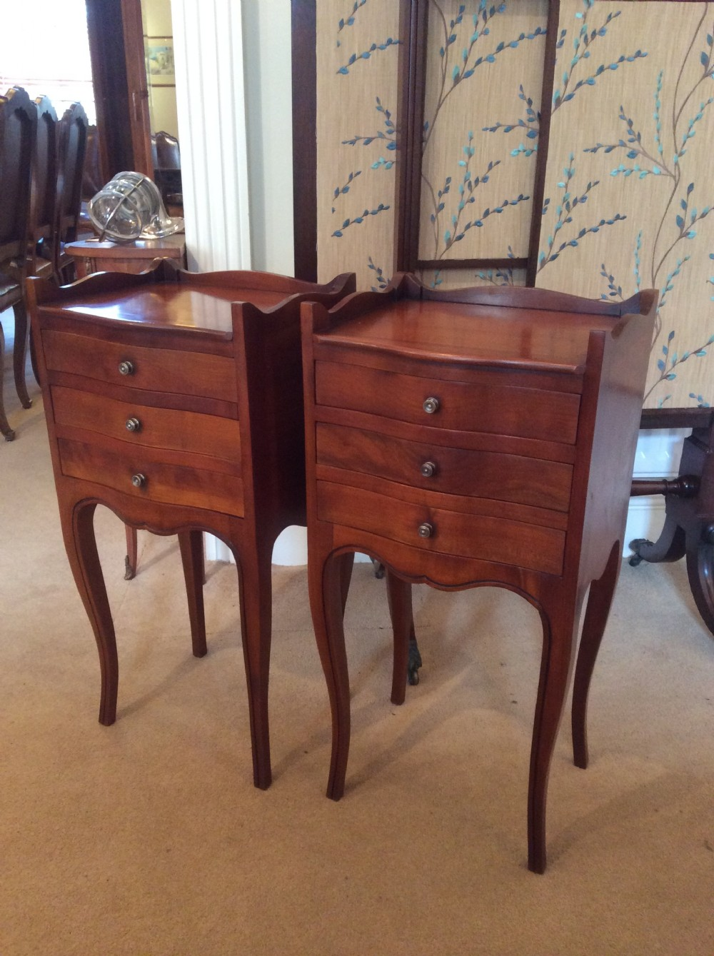 Old Bedside Table: Pair Of French Antique Bedside Tables
