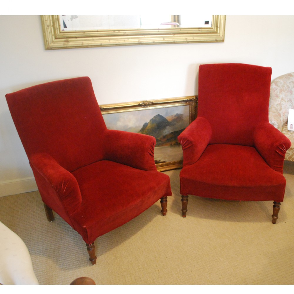 "Near Pair Of French ""Roll"" Armchairs With Vintage Red ..."