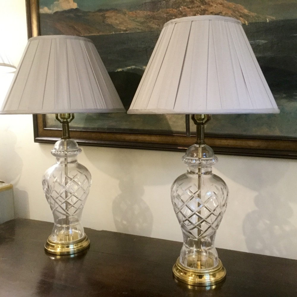 Pair of cut glass vase body table lamps 379597 sellingantiques pair of cut glass vase body table lamps keyboard keysfo Image collections