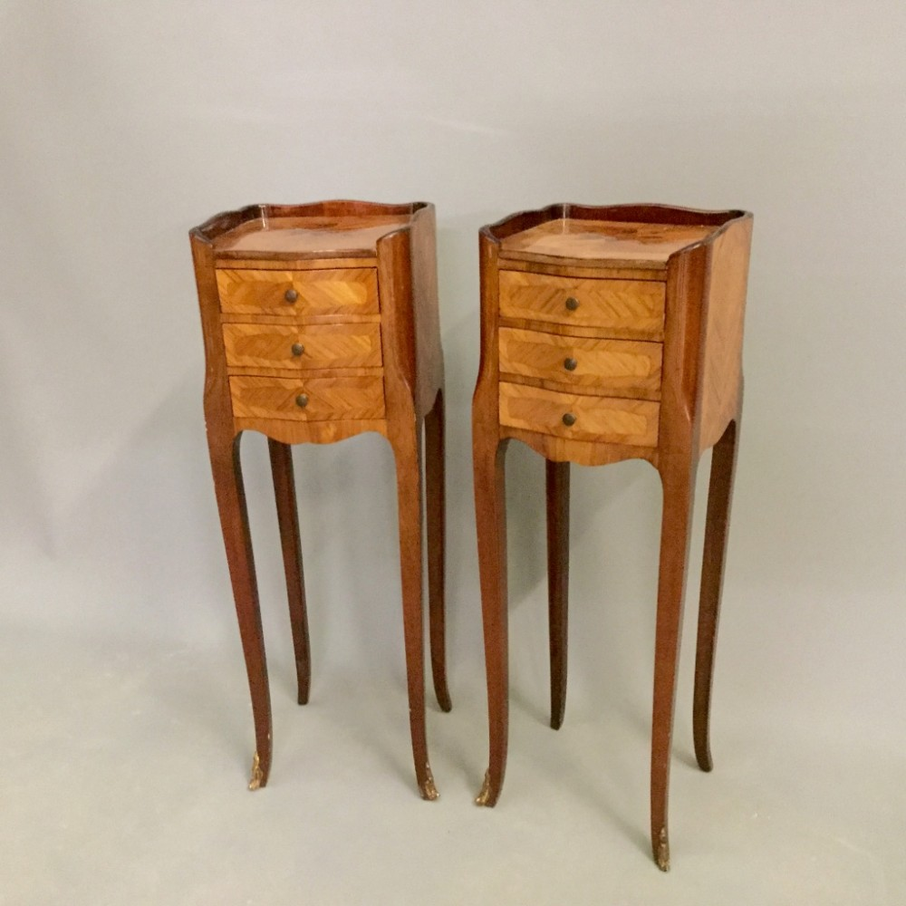 Pair of slim french marquetry side tables 440916 for Slim side table