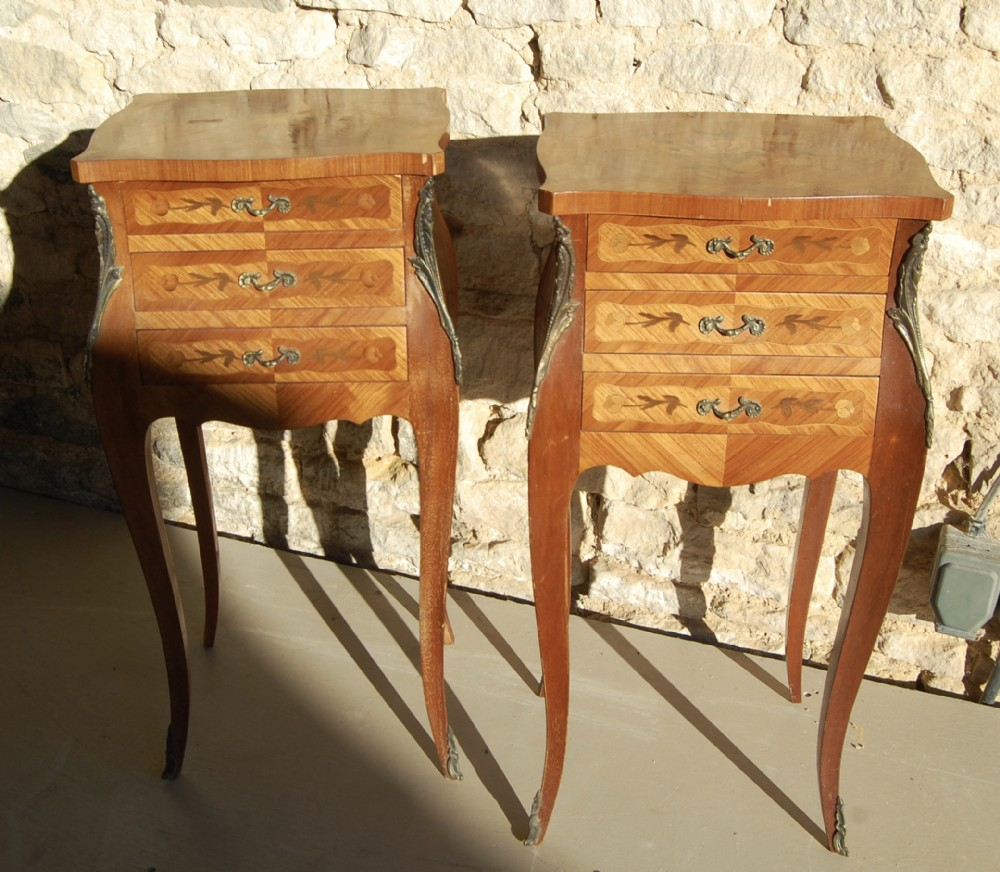20th century french inlaid side tables