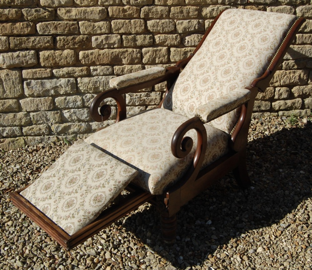 19th century reclining english library chair with footstool