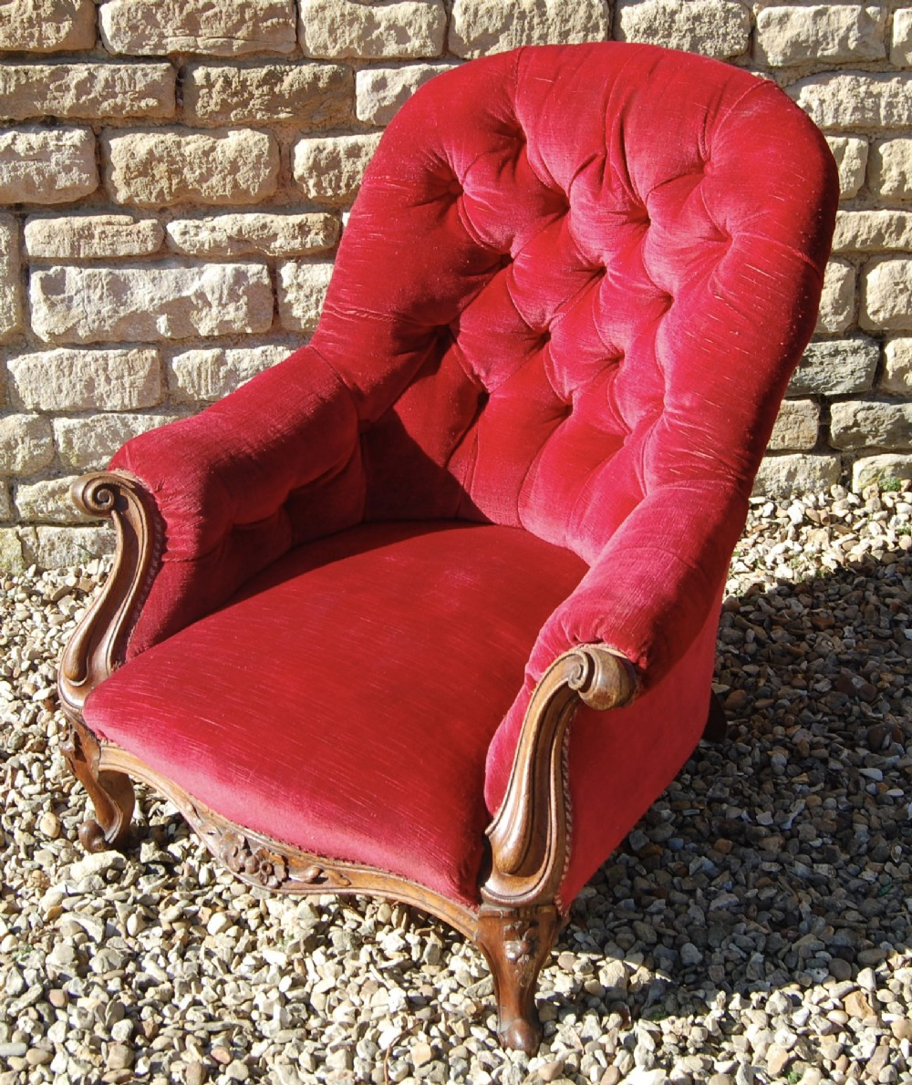 victorian red button back spoon chair