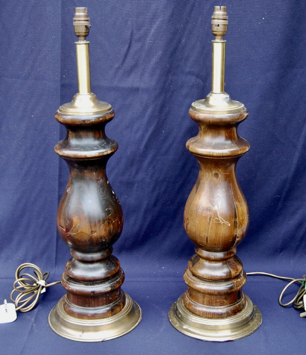 large pair of original turned wood brass column style lamps