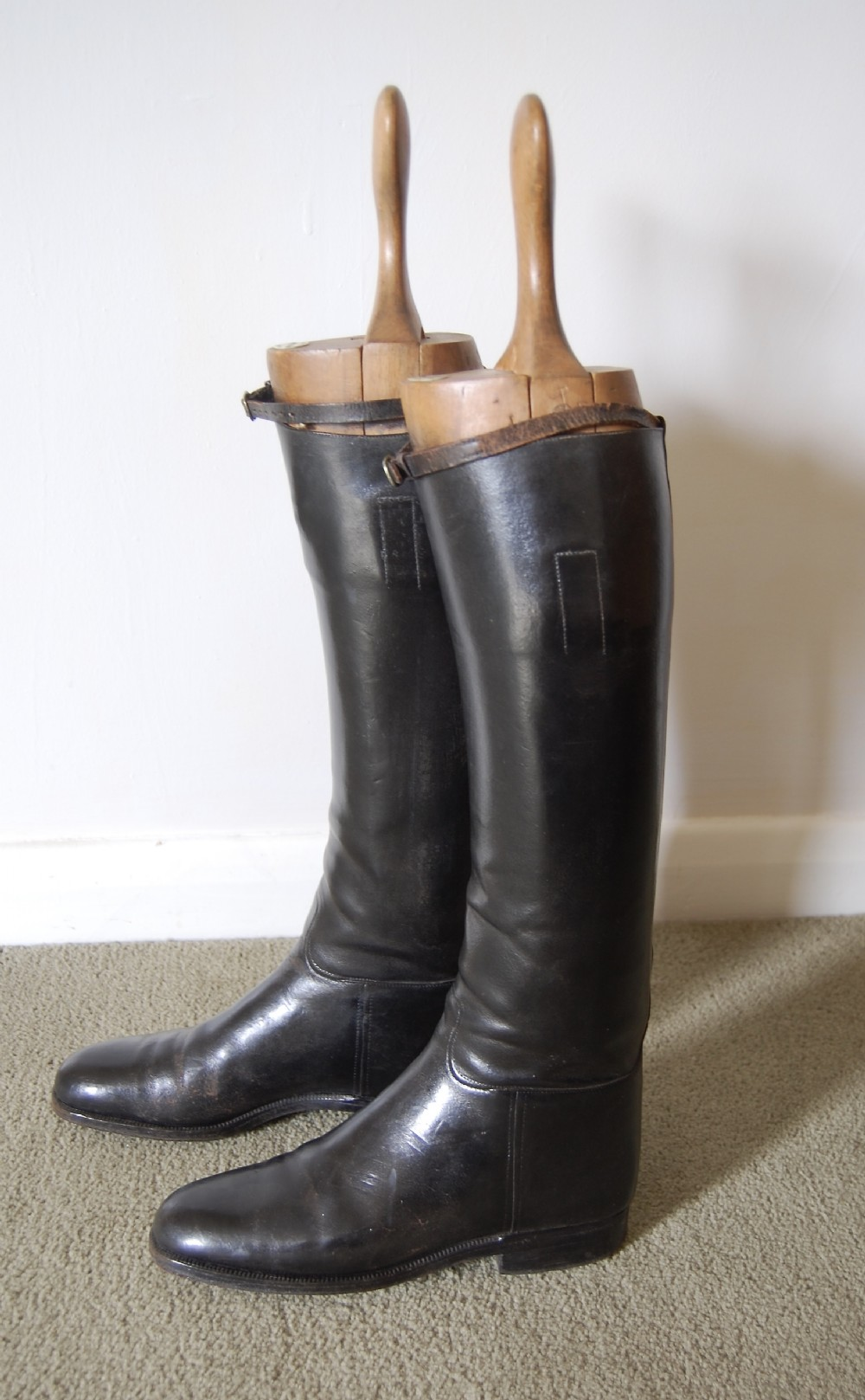 pair of vintage maxwell riding boots and trees