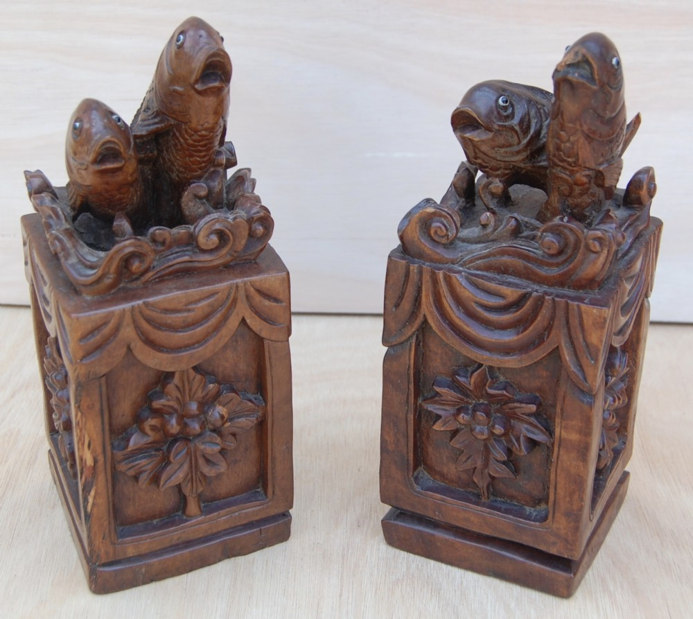 2 hand carved sculptured blocks with lucky carp