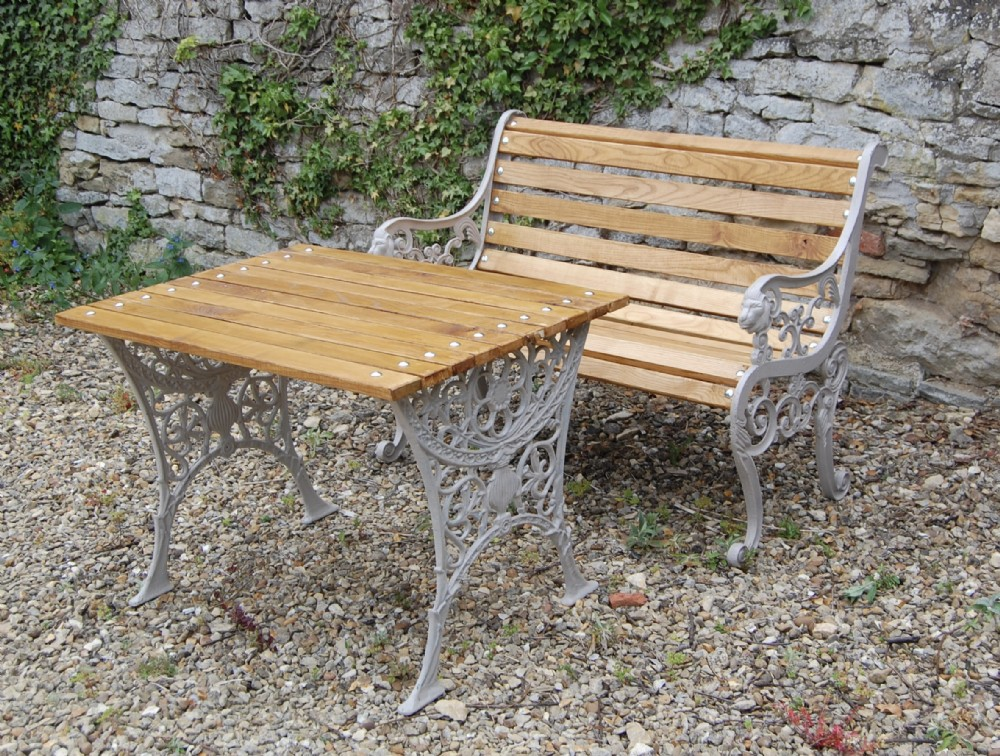 victorian ornate cast iron garden seat and table