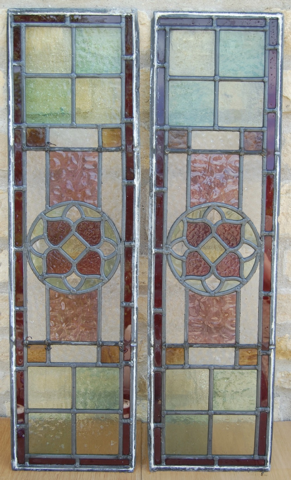 pair victorian stain glass window panels