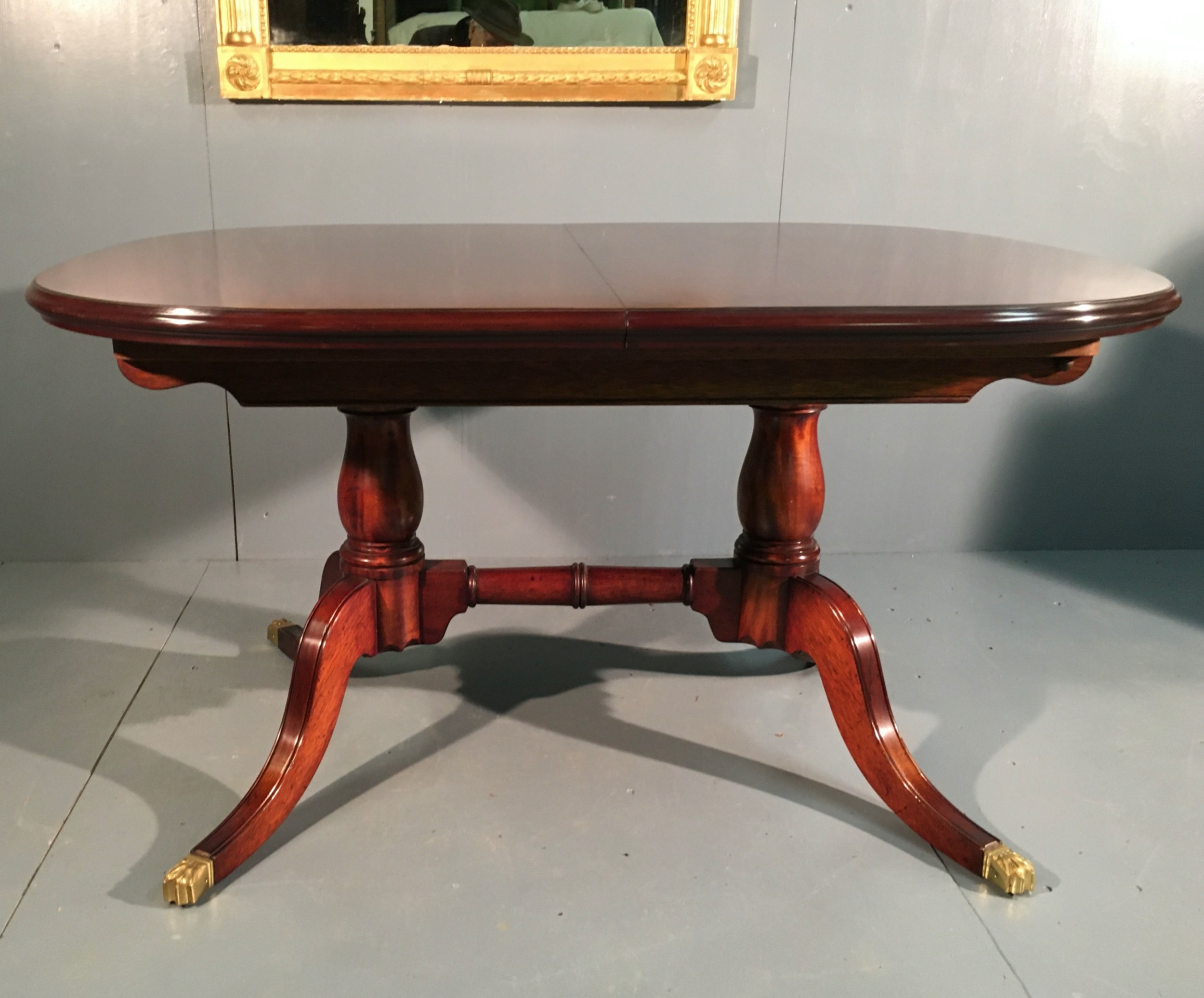 late georgian style d end 2 leaf extending mahogany dining table