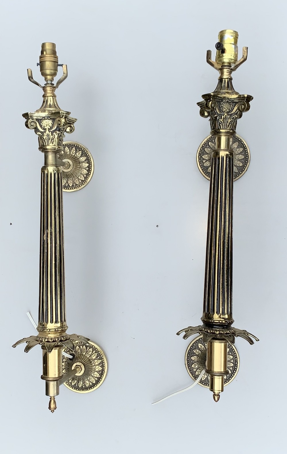 very impressive pair of brass walllights