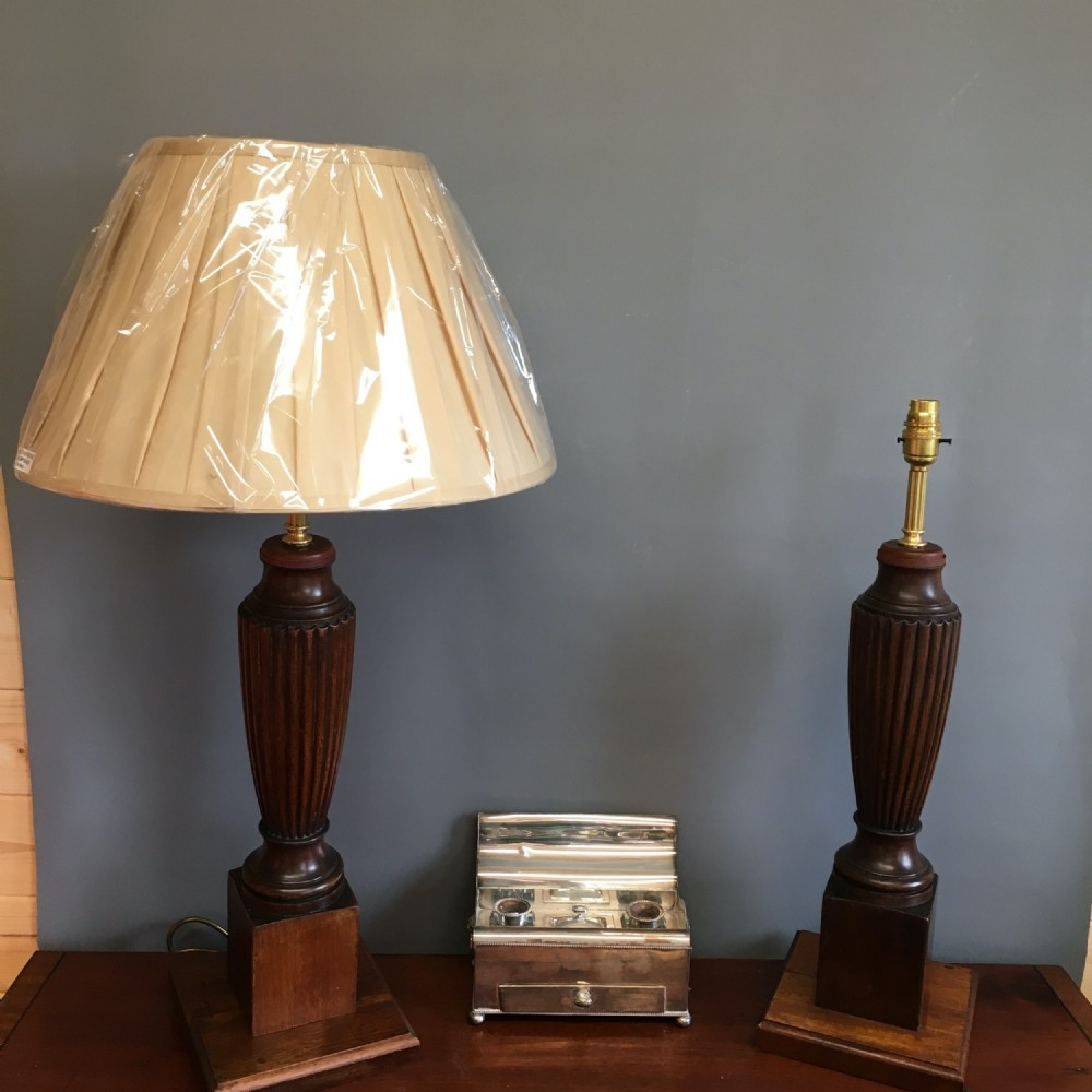 pair of classic wooden lamps