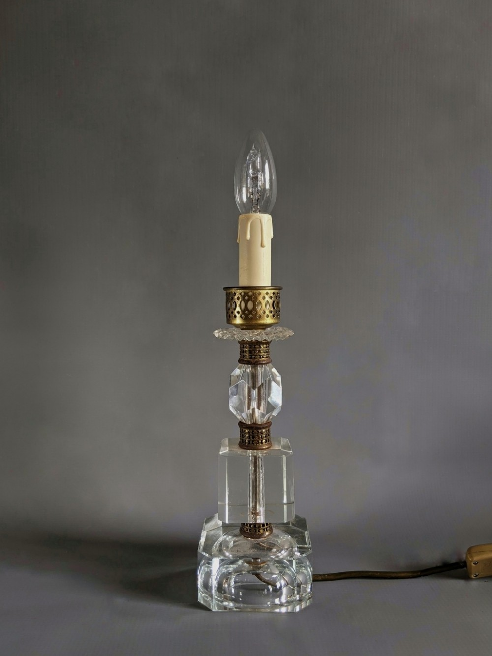 1920s cut glass table lamp
