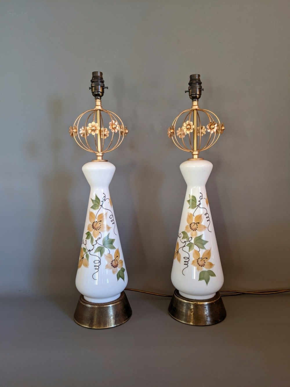 tall white glass antique lamps