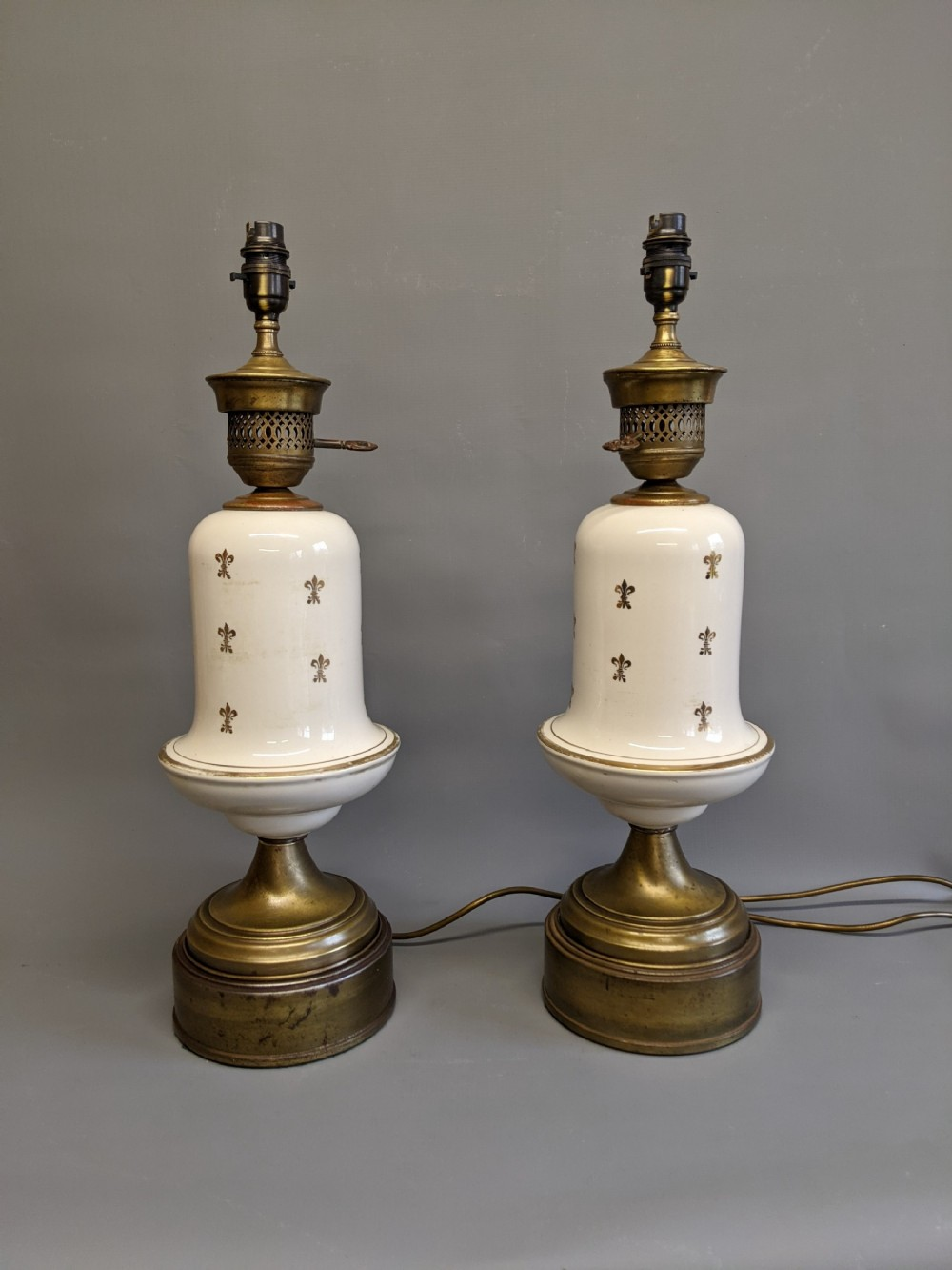 19th century white porcelain brass lamps