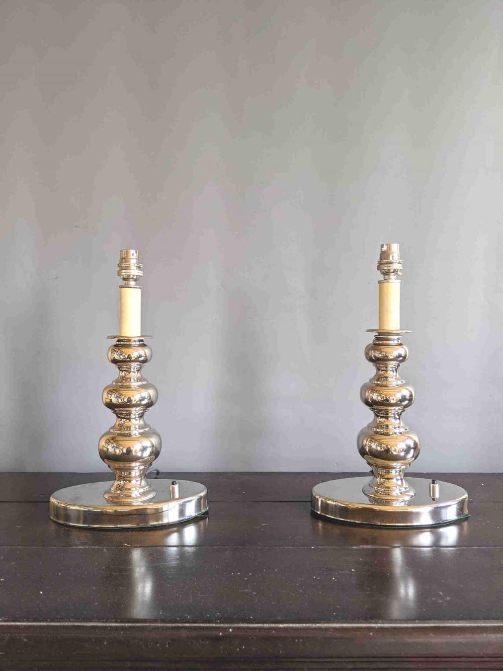 pair of nickel plated 1920's table lamps