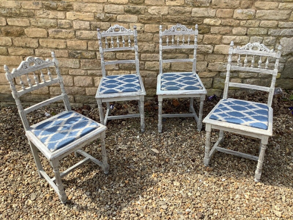 set of 4 french early 20th century dining chairs