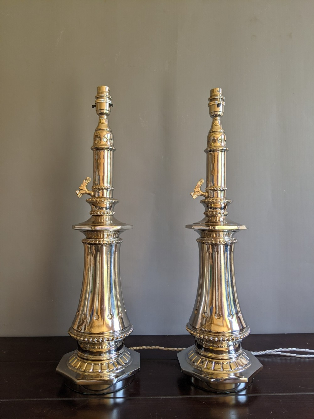 exquisite pair of 1920s nickel plated lamps