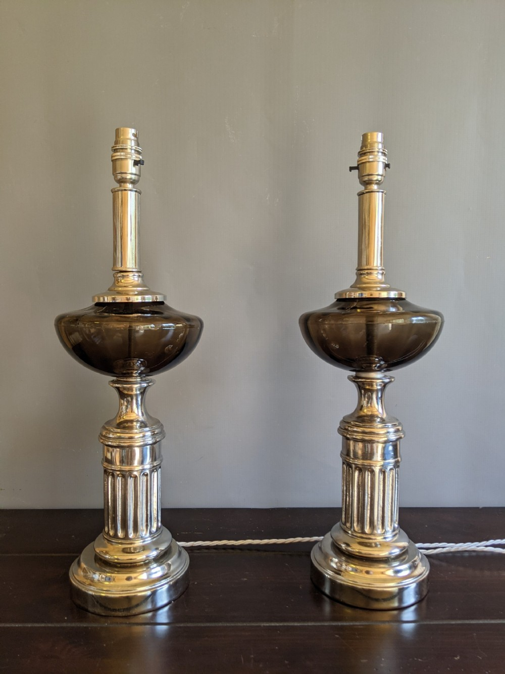 interesting pair of glass nickel plated lamps