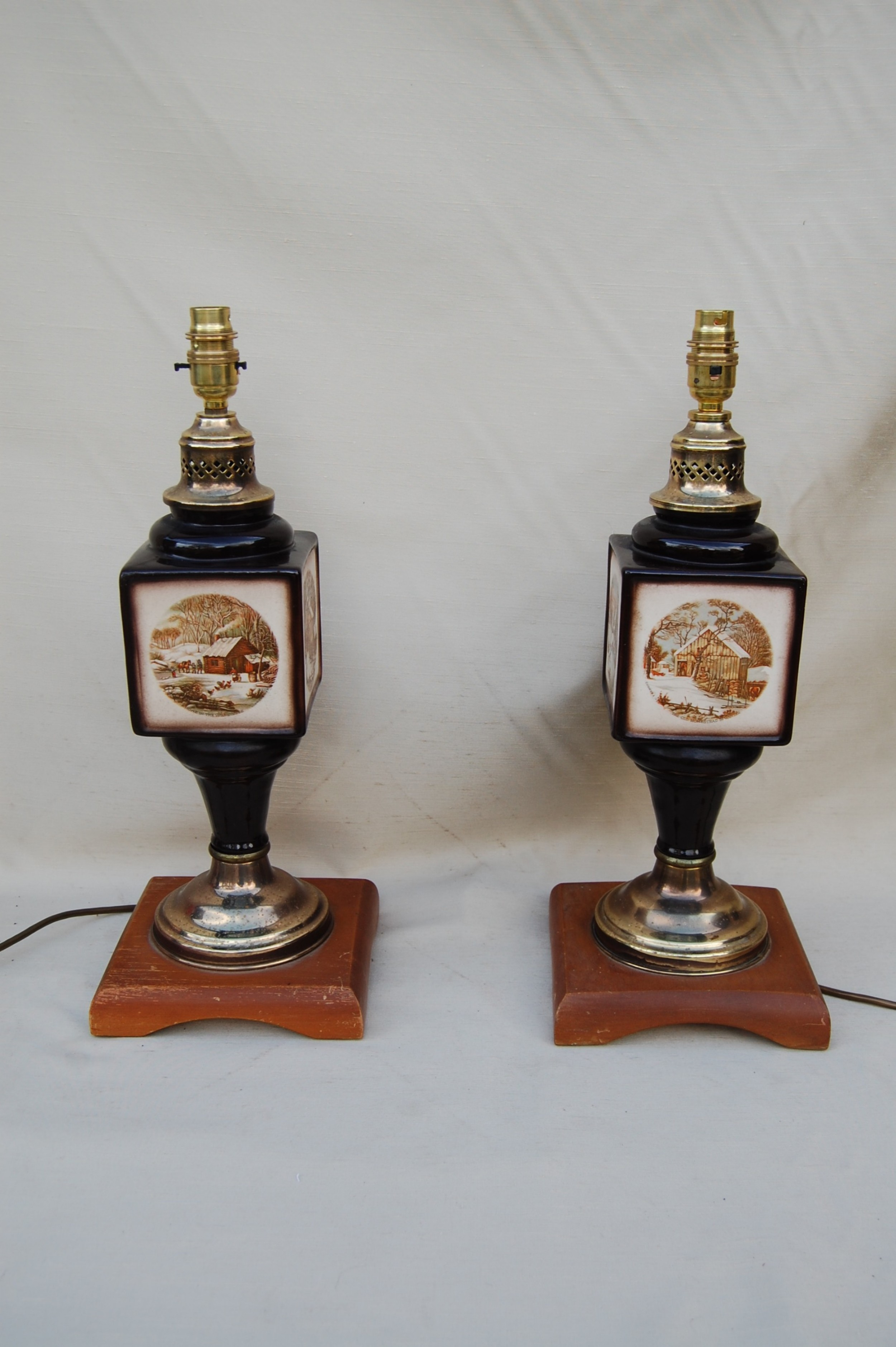 pair of ceramic and brass lamps
