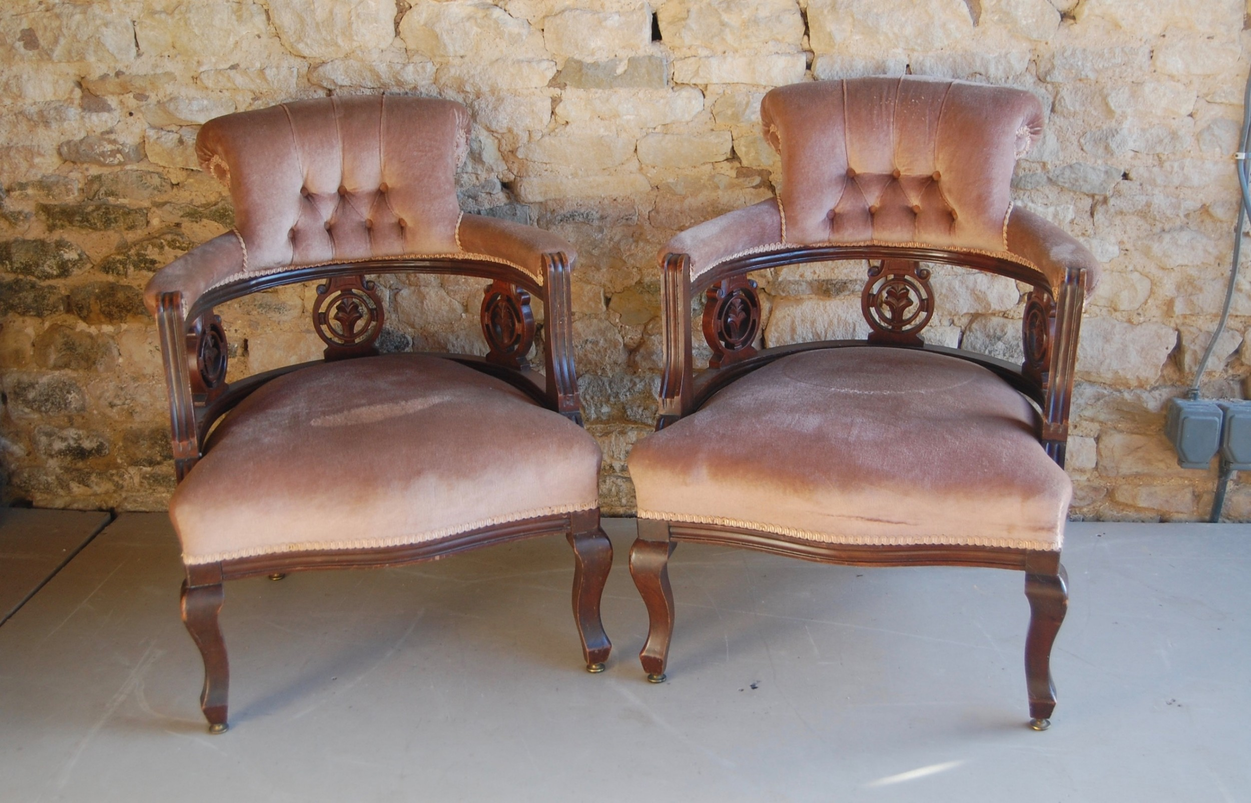 pair of late victorian salon chairs