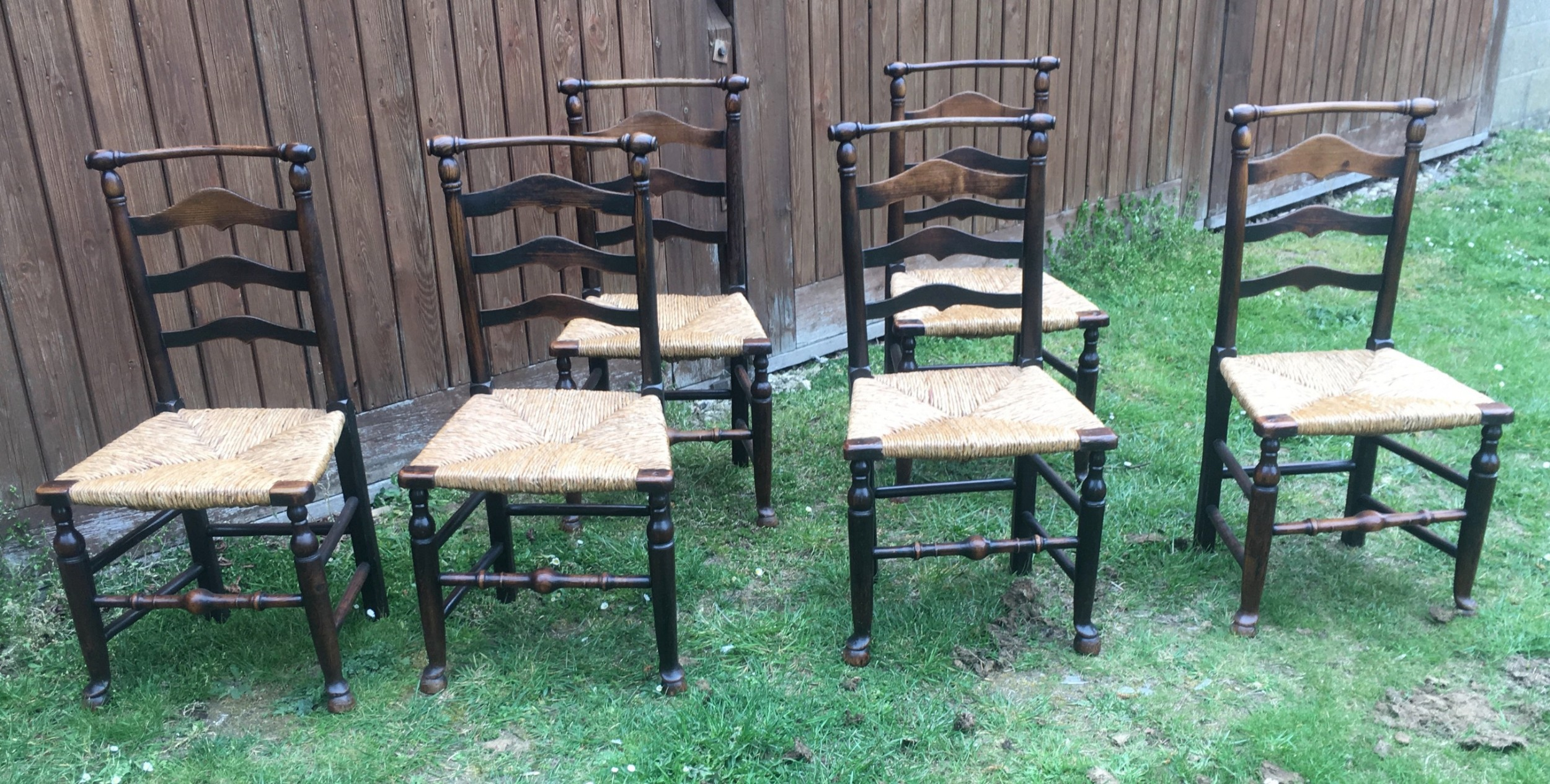 set of 6 ladderback chairs