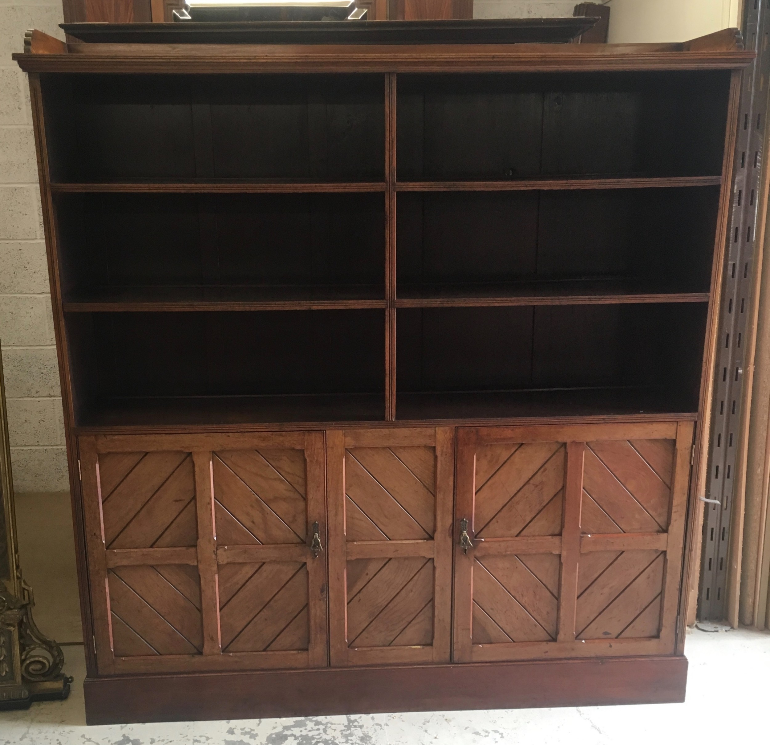 early 20th century arts and crafts style bookcase cupboard
