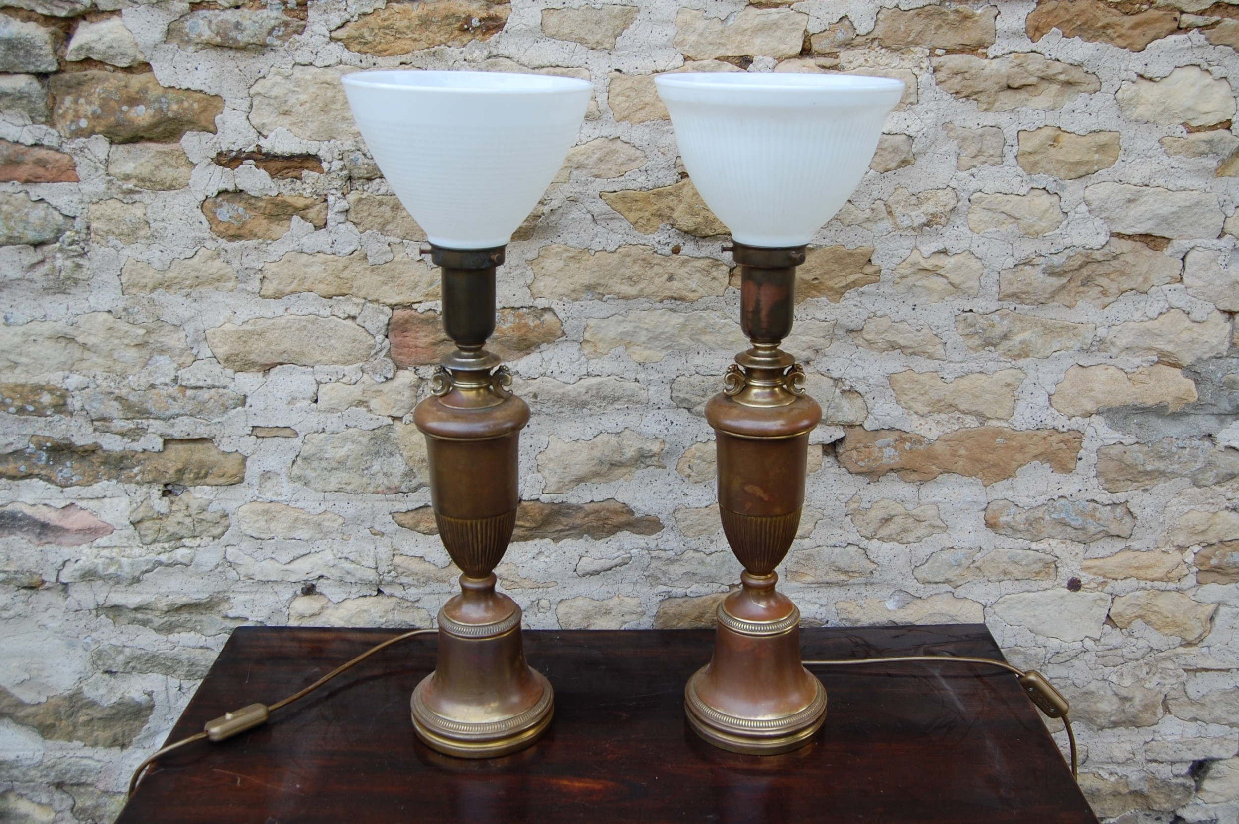 pair of original bronze copper effect lamps