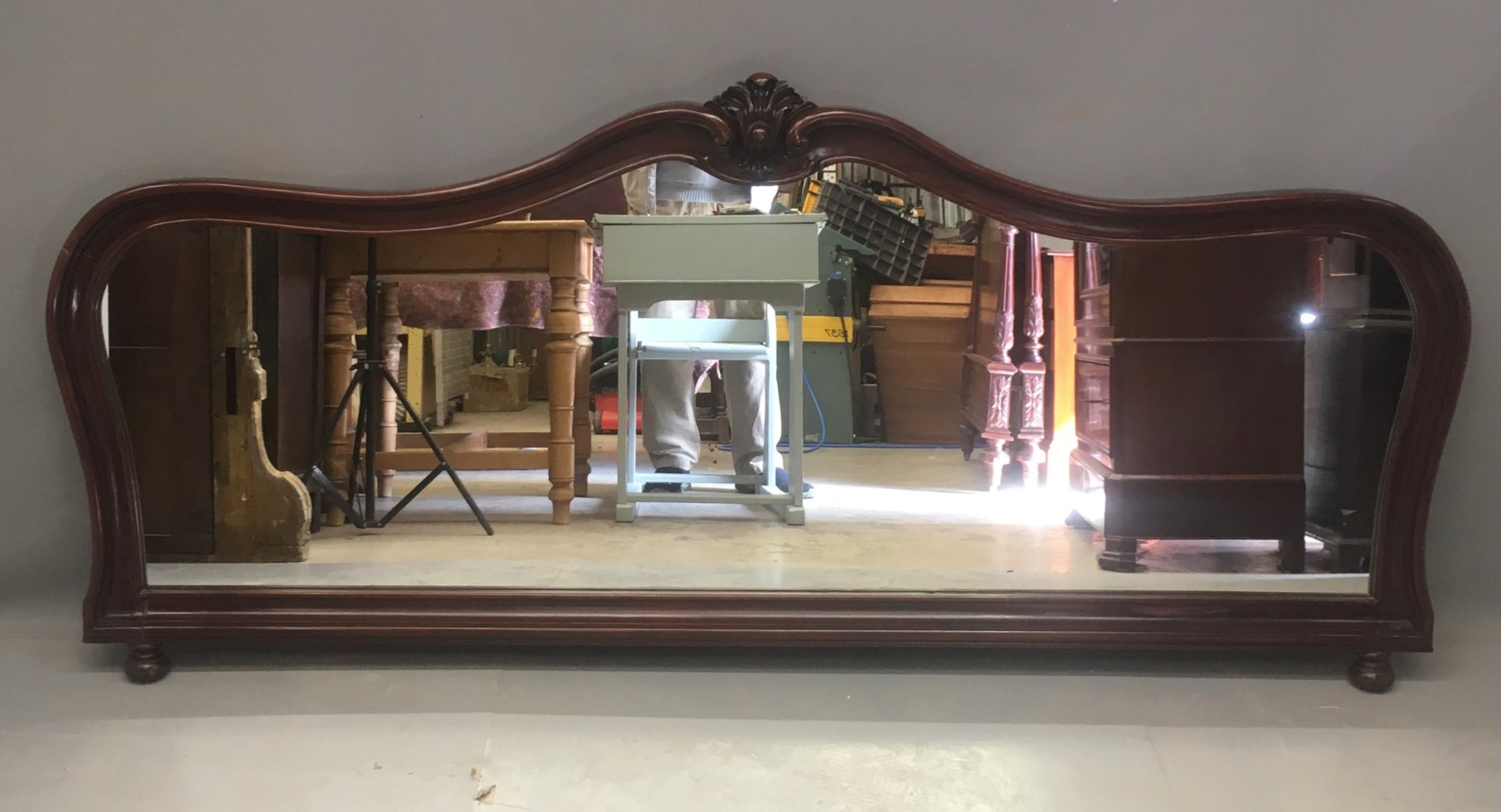 wide late victorian mahogany overmantle mirror