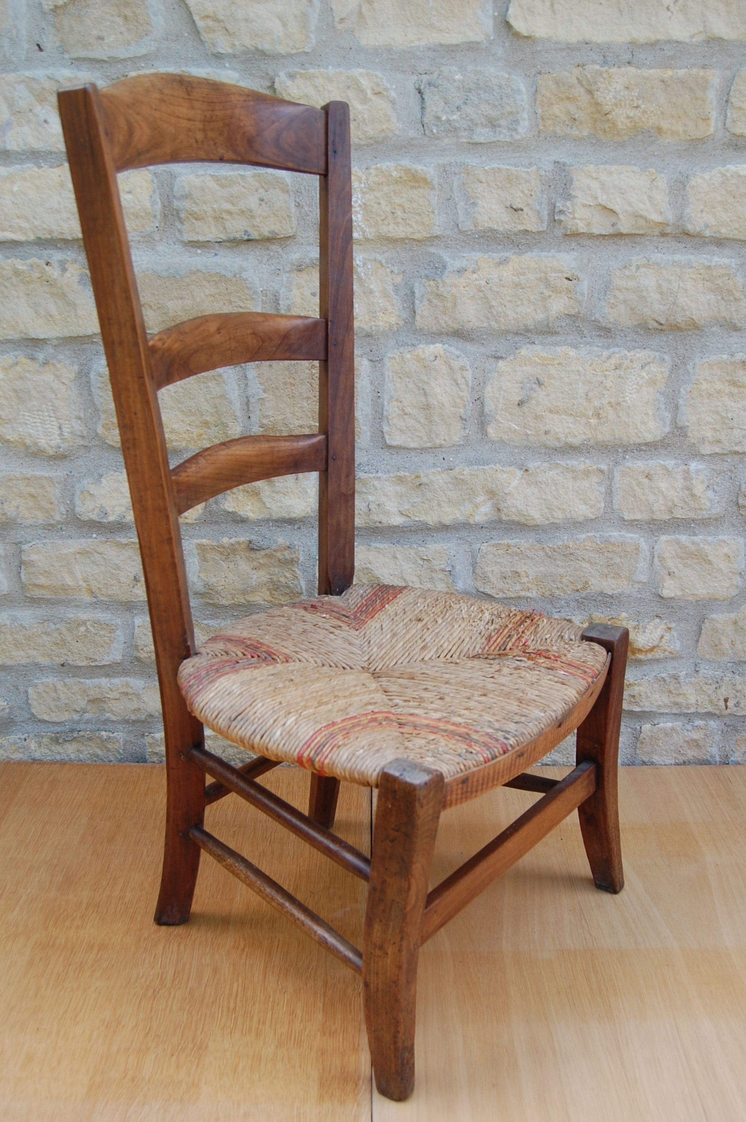 early 19th century rush seat ladderback childs chair