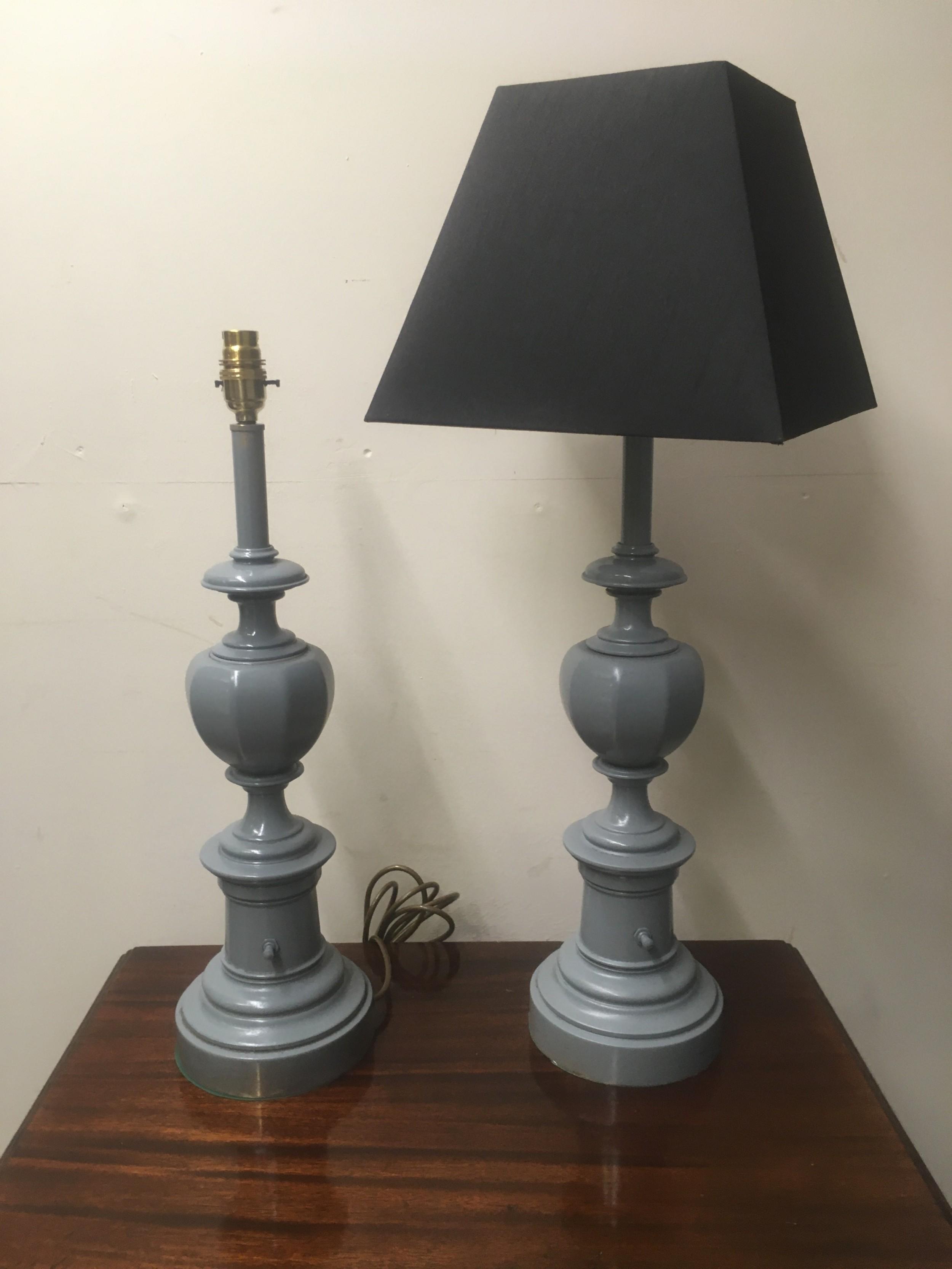 original pair of metal lamps refinished