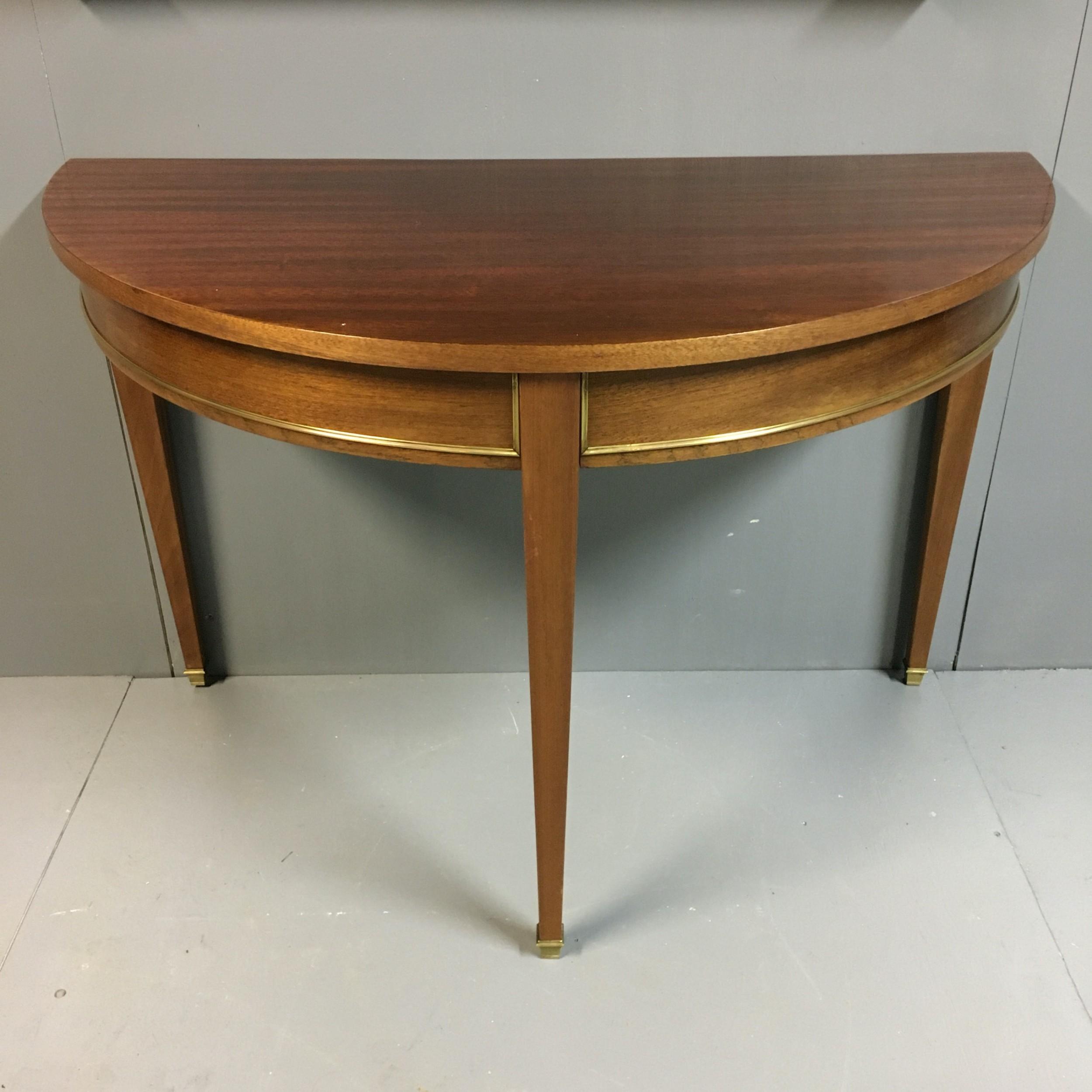 single mahogany 'd' end console table