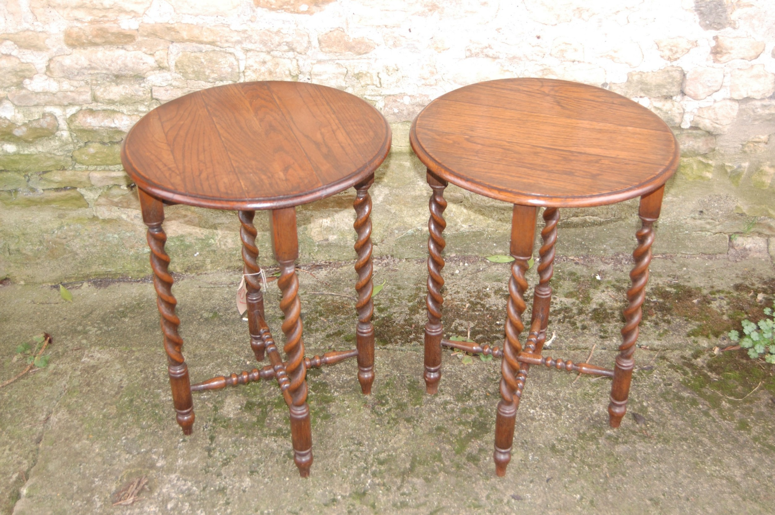 pair of late 19th oak side tables