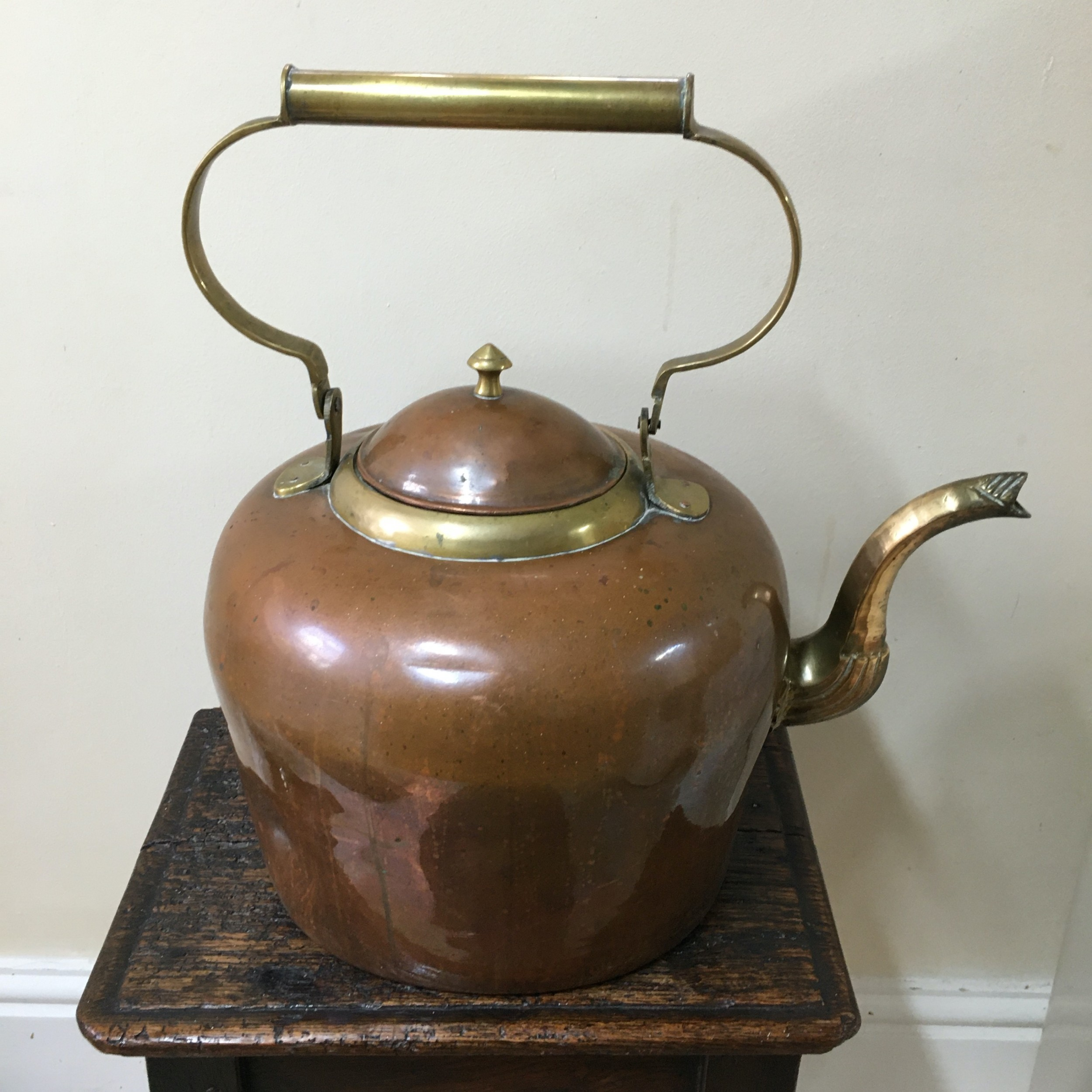 french copper and brass 2 gallon kettle