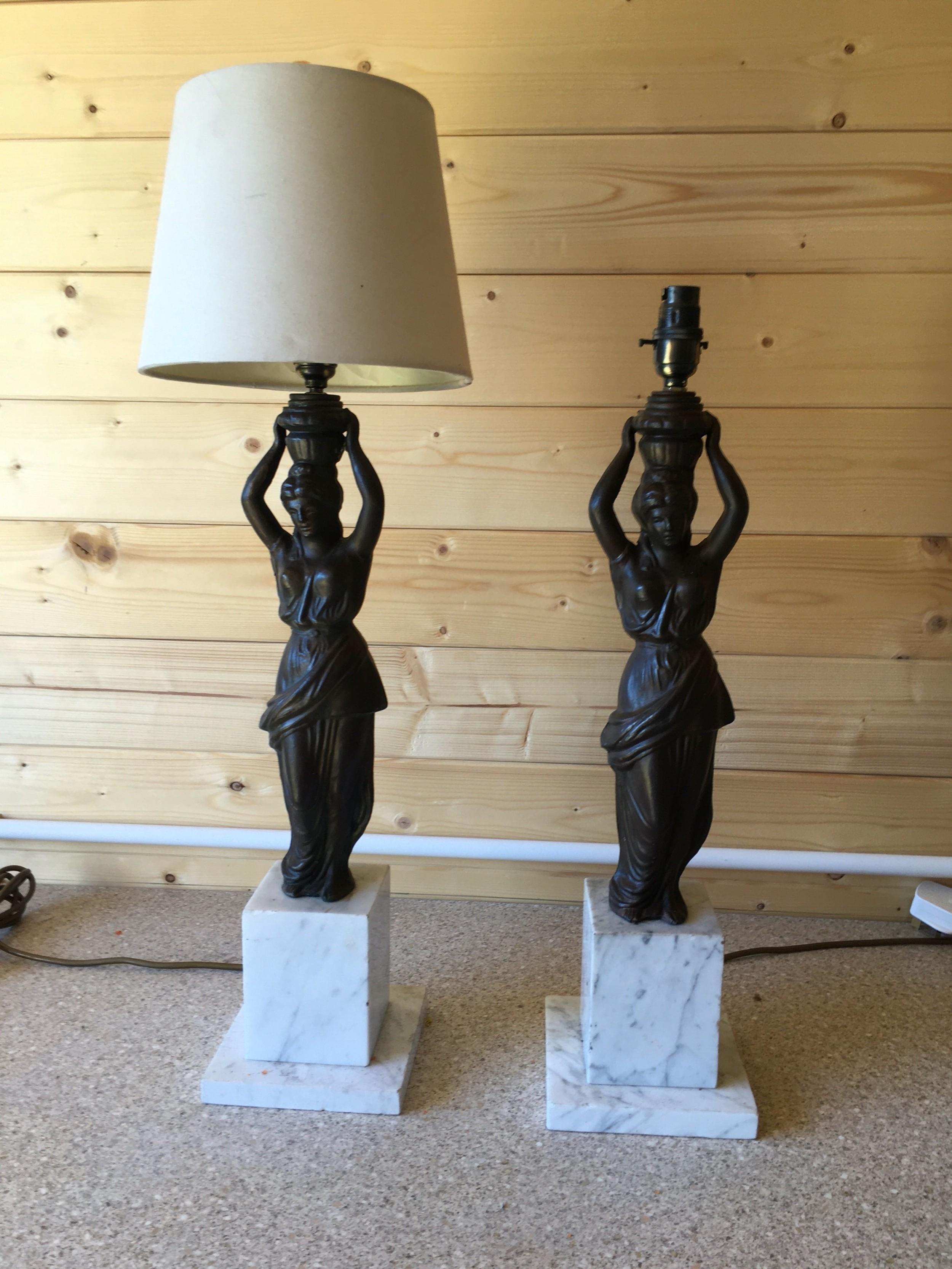 pair of original maiden statue lamps