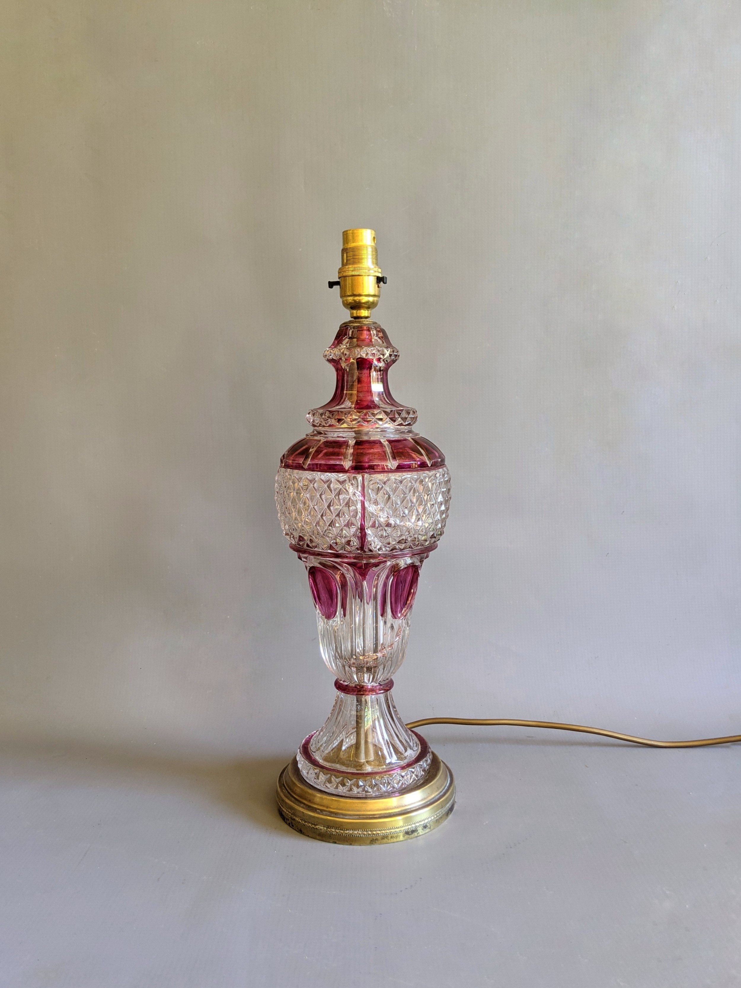 early 20th century cranberry glass table lamp