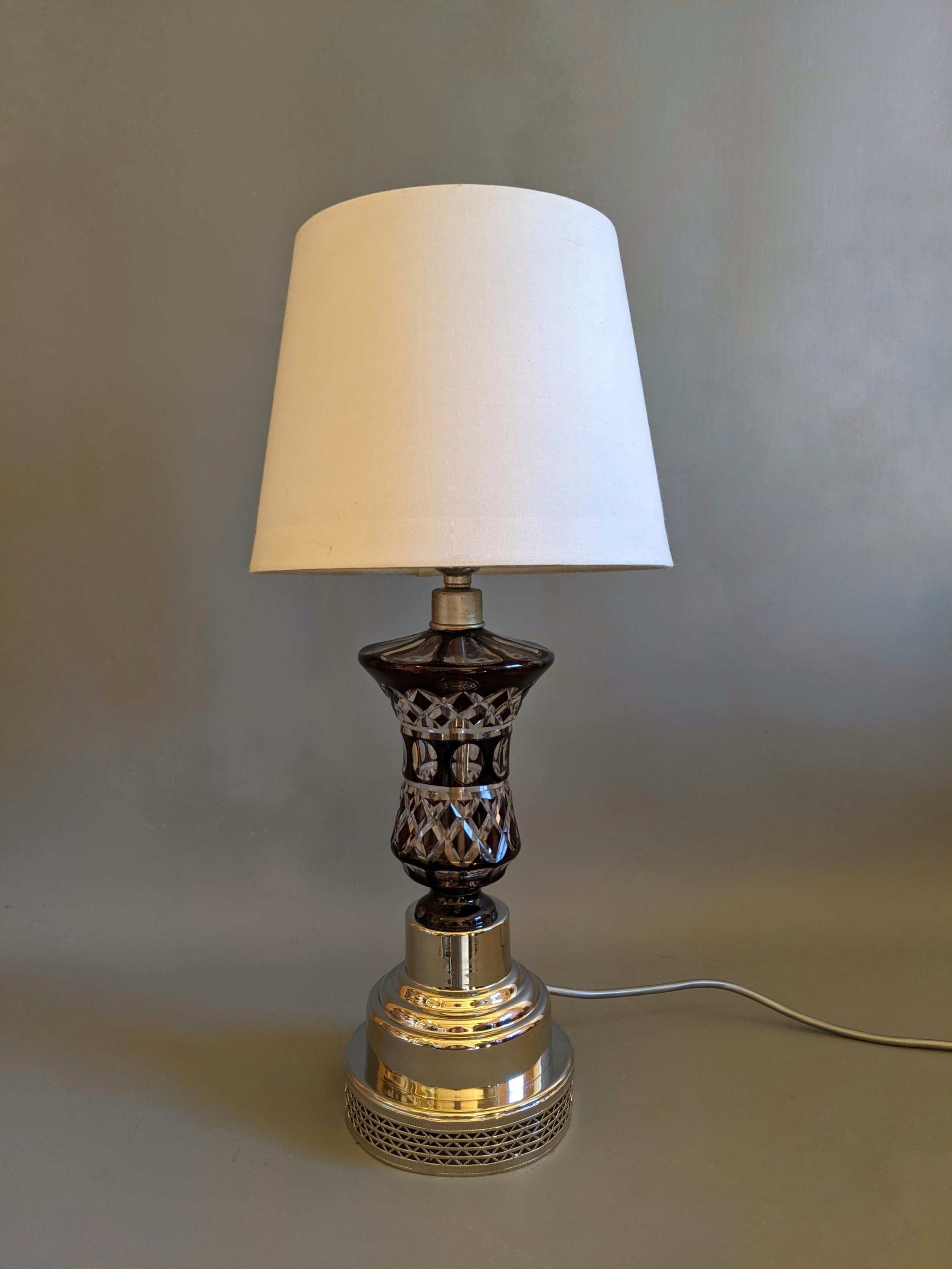 early 20th century glass lamp with cranberry details