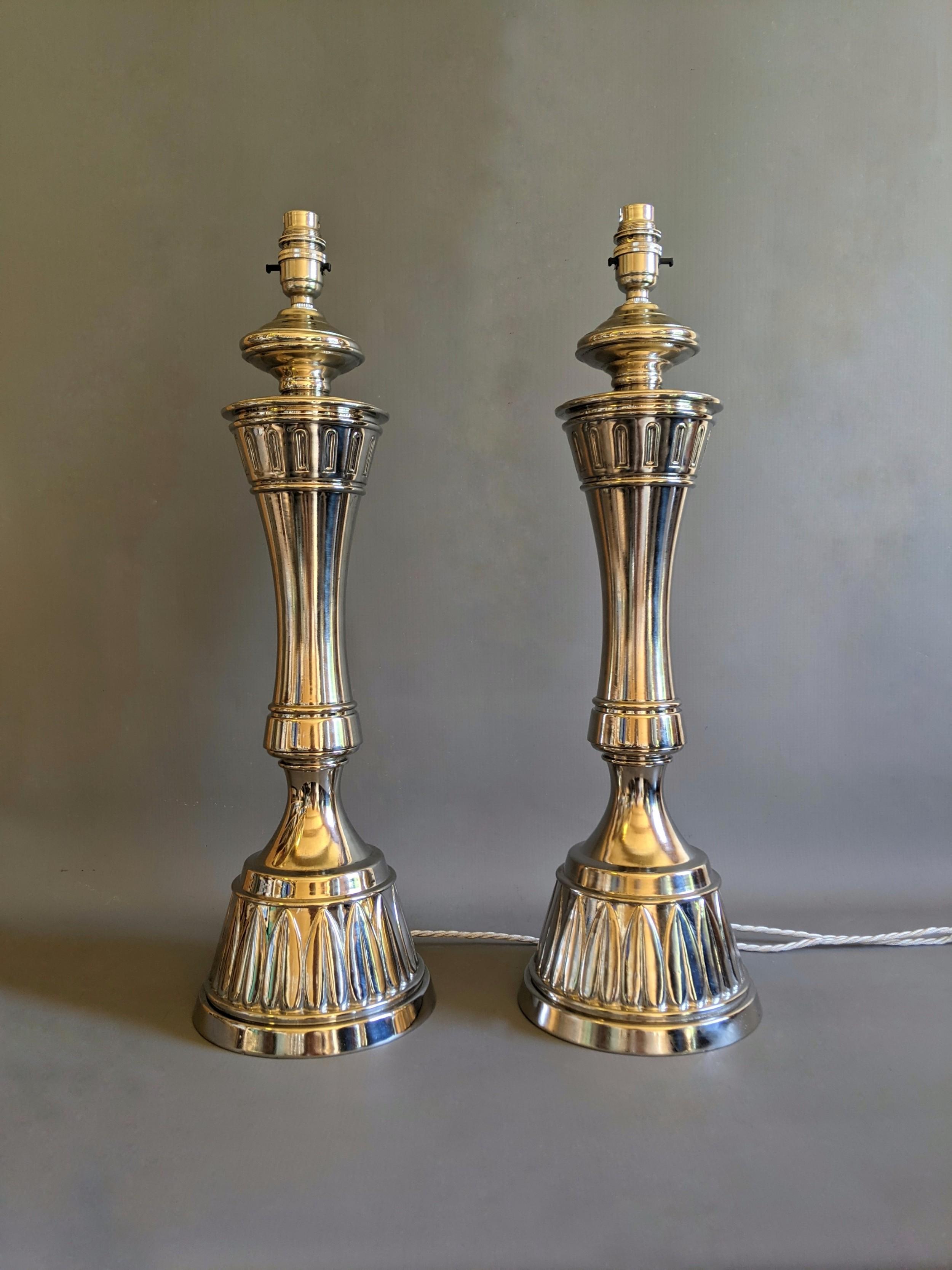 pair of impressive nickel plated lamps