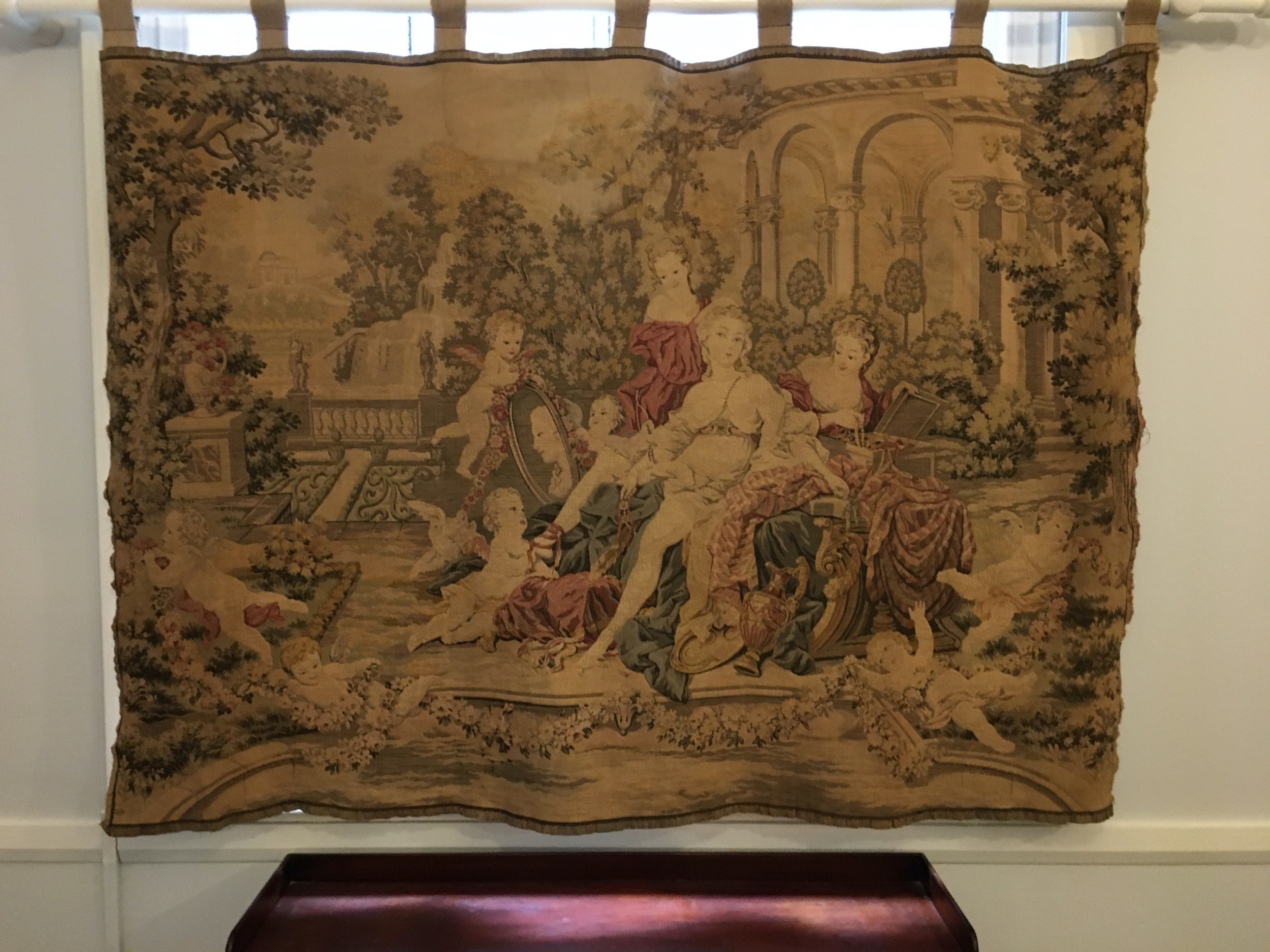 french or possibly belgium tapestry wall hanging