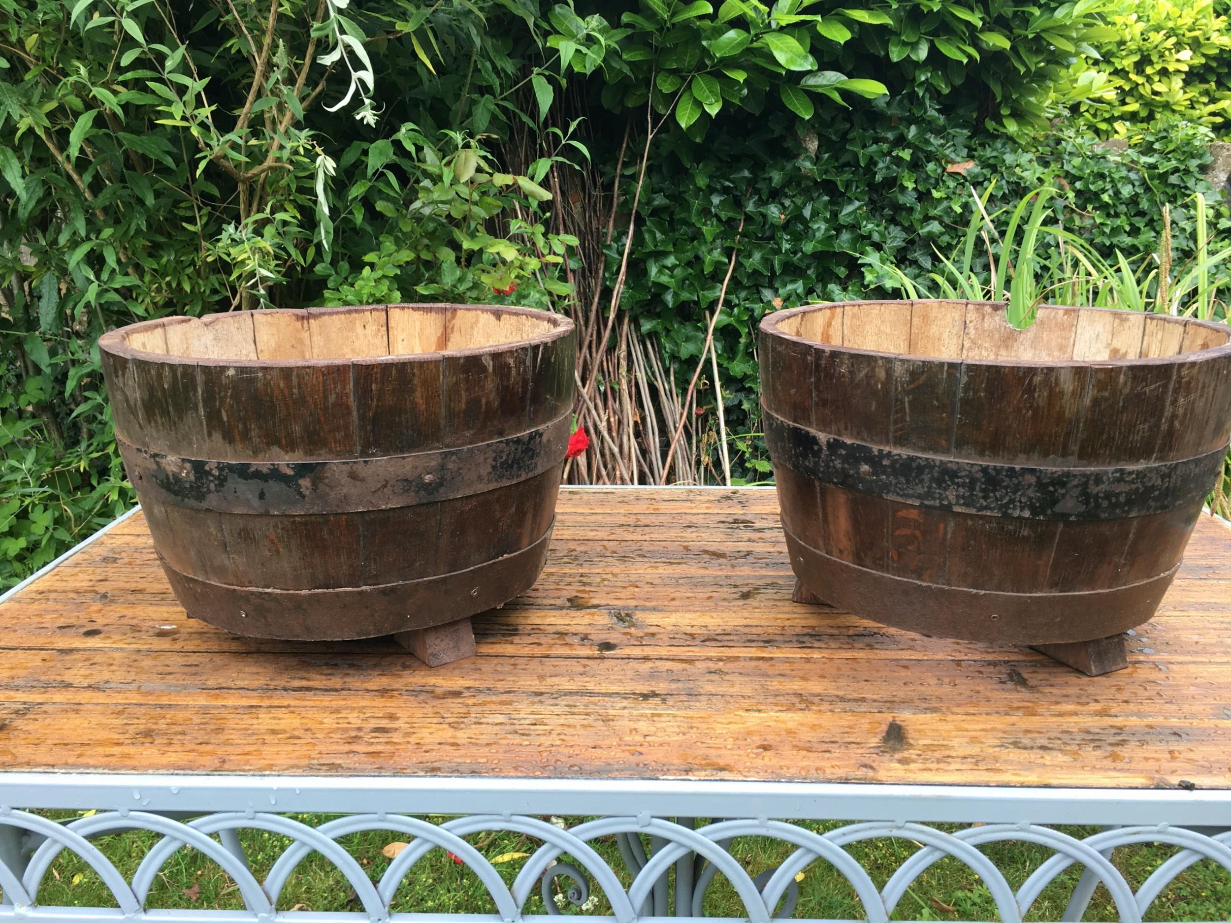 pair of oak barrelled planters